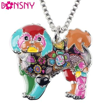 Bonsny Maxi Statement Alloy Yorkie Yorkshire Dog Shih Tzu Jewelry Choker Enamel Necklace Chain Collar Pendant Fashion  For Women