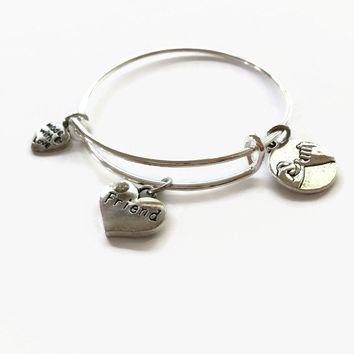CHILD SIZE Friend Expandable Bracelet Friendship Bracelet Friend Expandable Bangle Adjustable Stacking Wire Bangle Friend Charm Bangle (CB9)