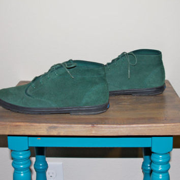 Vintage Hunter Green Suede KEDS Lace Up Hipster Grunge Ankle Booties 8