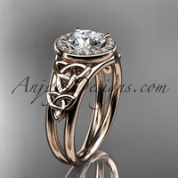 14kt rose  gold diamond celtic trinity knot wedding ring, engagement ring CT7131