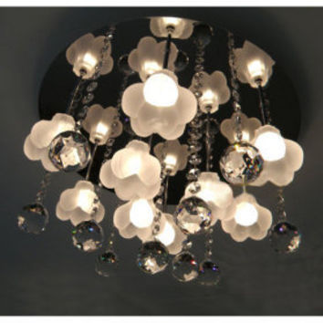 Frosted Glass 9-light Crystal Swag Ceiling Light(0942-98012-C-9) - US$ 182.84