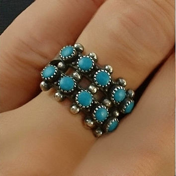 Vintage NATIVE American Sterling ZUNI Turquoise RING Petit-Point Snake Eye Gemstones Double Row Band Size 7.25 Hallmarked c.1960's