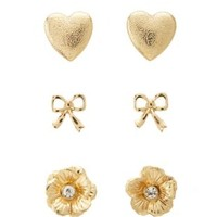 Heart, Bow & Flower Earrings - 3 Pack by Charlotte Russe - Gold