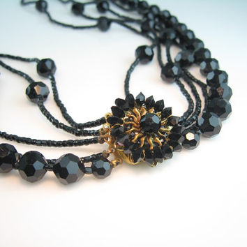 Vintage French Jet Necklace Signed Eugene Embellished Clasp 5 Strand Black Glass Beads 1950s Jewelry