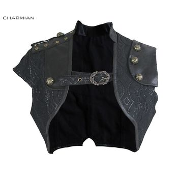 Charmian Women's Steampunk Black Leather Corset Shrug Medieval Victorian Retro Gothic Floral Lace Bolero Shrug Short Jacket