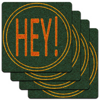 Hey Casual Hello Greeting Low Profile Cork Coaster Set