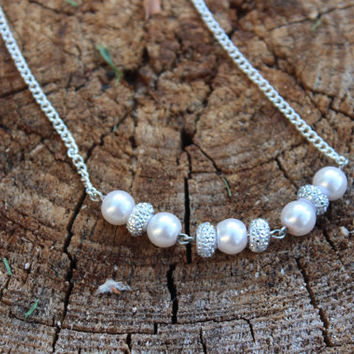 Pearl Necklace, Crystal Necklace, Pearl and Crystal, Bridal Jewelry, Wedding Jewelry, Formal Necklace, Sparkling Necklace, Silver Necklace