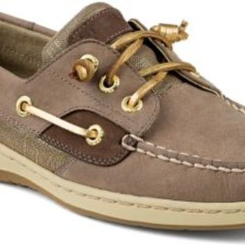 Sperry Top-Sider Ivyfish Metallic Linen 3-Eye Boat Shoe Griege/Gold, Size 11M  Women's Shoes