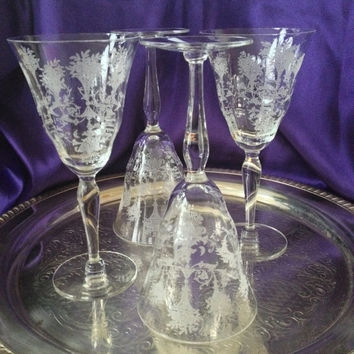 Morgantown Mayfair Water Goblets, Etched Floral and Urn Design, Set of Four, Vintage 1930s, Paneled Optic Crystal Stems
