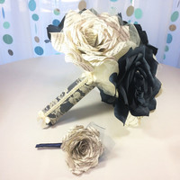 Beautiful navy blue wedding bouquet using book page roses with matching boutonniere option and three sizes to choose from