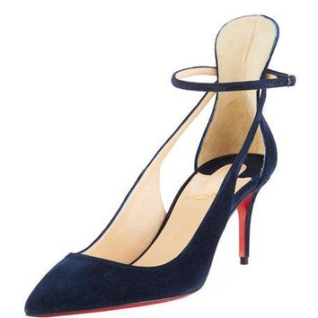 Christian Louboutin Mascara 70mm Suede Red Sole Pump