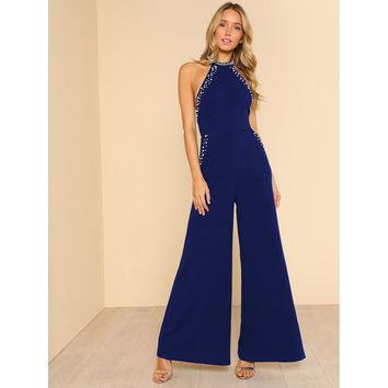 Pearl Embellished Open Back Halter Jumpsuit