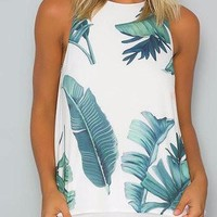 White Round Neck Sleeveless Leaf Print Layered Chiffon Top