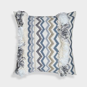 Ruffled Moroccan Hand Embroidered 20-Inch Throw Pillow