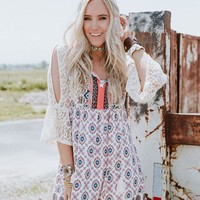 Color My World Lace Sleeve Dress