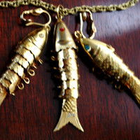 Vintage Brass Articulate Fish Necklace and Earring Set