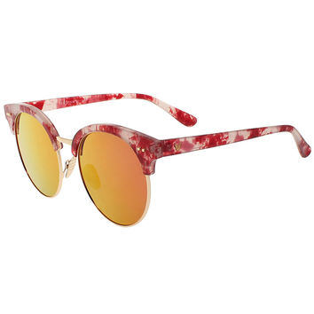 Red Spot Print Mirror Lens Cat Eye Sunglasses