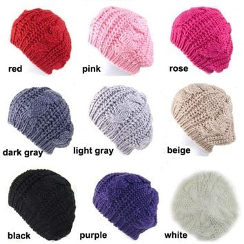 Beret Braided Baggy Knit Crochet Hat Ski Cap Women Beanie Hat Lady Girls Fashion Cap Multi-color Hot Sale