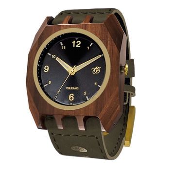 Mistura Volkano Unisex Watch Army Green Leather Band Classic Black Dial