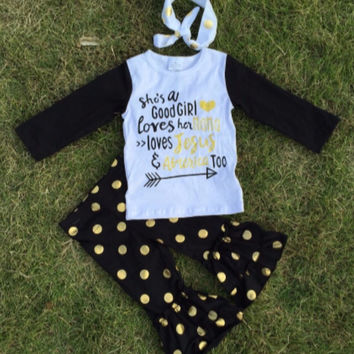 She's A Good Girl Gold Dot Outfit