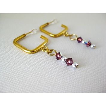 Gold Square and Amethyst AB Swarovski Crystal Drop Earrings