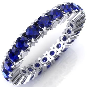 Lilaine Blue Sapphire Full Eternity 3mm Round Cut Engagement or Anniversary Ring