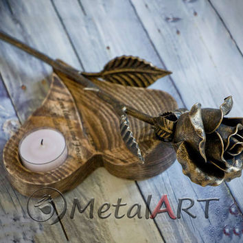 Metal Rose + Wood-Stand Candle holder/ 4th Anniversary gift/ 4 year wedding anniversary/ steel rose/ metal sculpture/ personalized gift