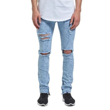 2018 Hot Sale Men Jeans Stretch Destroyed Ripped Design Fashion Ankle Zipper Skinny Jeans for Men 29-38