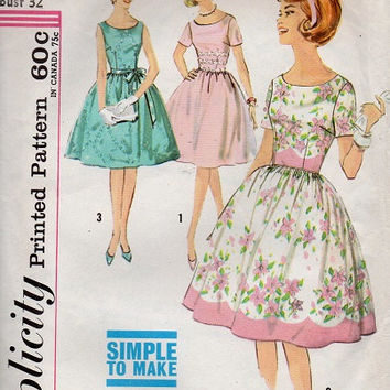 Retro Swing Full Circle Skirt Tea Dress Simplicity Early 60s Sewing Pattern Dart Fitted Bodice Scoop Neck Short Sleeve Garden Dress Bust 32