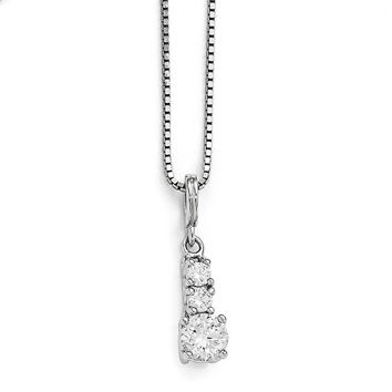Sterling Silver & CZ Brilliant Embers 3 Stone Necklace QMP1353