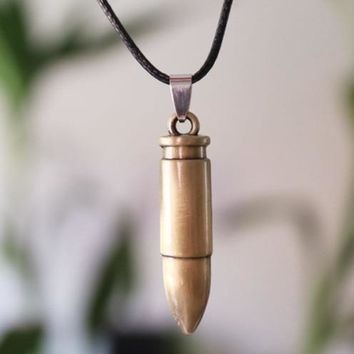 New Keepsake Bullet Necklace Pendant For Men Stainless Steel Retro Jewelry Trendy Vintage Chain Necklaces Soldier Friend Gift