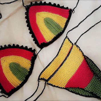 Crochet Rasta Bikini set, crochet jamaican bikini top and bottoms