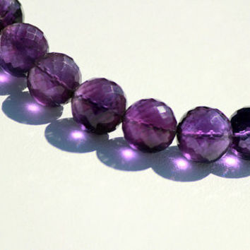 "Deep Purple Amethyst 8-9mm Round Faceted 8"" Strand"