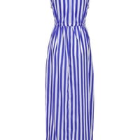 Blue Stripe Pattern V-Neck Drawstring Waist Maxi Dress