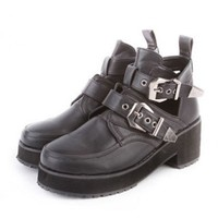 Retro Black PU Leather Boot with Pin Buckle Belt