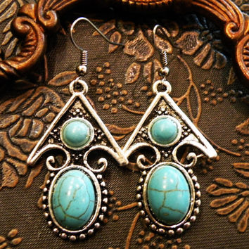 Tribal turquoise earrings ethnic jewelry