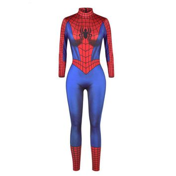 Adult Women Halloween Spider Men Costume Ladies Cobweb Jumpsuit Zentai Cosplay Party Catsuit Outfit Clothing For Girls