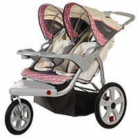InStep Grand Safari Double Swivel Stroller - Tan with Pink Accents