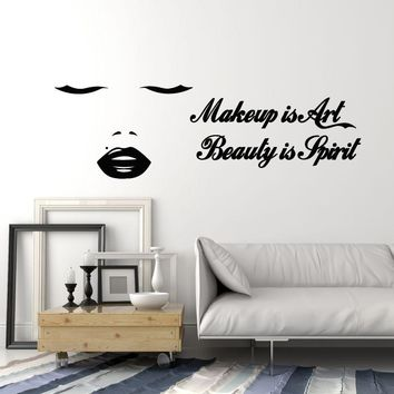 Vinyl Wall Decal Beauty Salon Quote Makeup Sexy Woman Lips Closed Eyes Stickers Mural (ig5285)