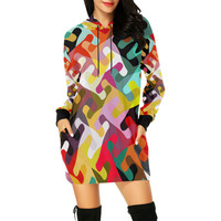Colorful shapes All Over Print Hoodie Mini Dress (Model H27) | ID: D2426550