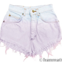 "ALL SIZES ""MACAROON"" Vintage Levi high-waisted denim shorts lilac pastel ombre distressed frayed jeans"