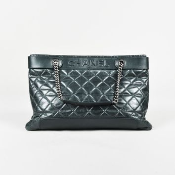 Chanel Fall 2012 $2900 Dark Blue Quilted Leather Chain Link Tote Bag