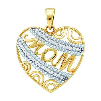 10kt Yellow Gold Womens Round Diamond Mom Mother Filigree Heart Pendant 1/10 Cttw