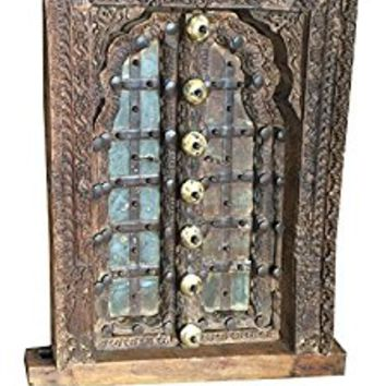 Antique Floral Carved Patina Window Frame Wooden Jharokha Haveli Decor, Window Decor