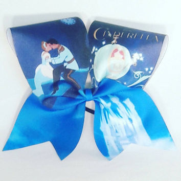 Cinderella Cheer Bow- 3 Inch Texas Size - Cheer Party - Theme Practice - Birthday Gift - Ponytail Accessory