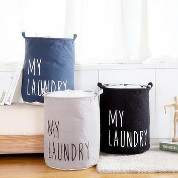 Urijk Cotton Linen Foldable Buckets Clothes Organizer Laundry Baskets Hamper Storage Organizer Bag Laundry Products