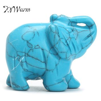 "KiWarm 1.5"" Turquoise Hand Carved Elephant Crystal Healing Gemstone Animal Feng Shui Figurine Statue Home Office Ornament Craft"
