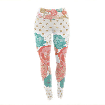 "Pellerina Design ""Spring Florals"" Blush Peony Yoga Leggings"