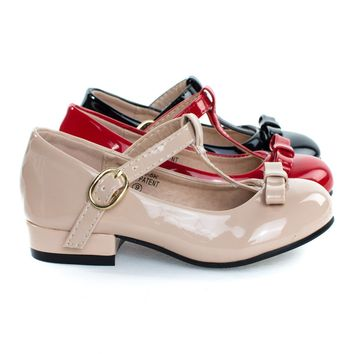 Kate5K By Bella Marie, Girl's Mary Jane T-Strap Pump, Chunky Block Heel & Bow, Children Kid Shoe
