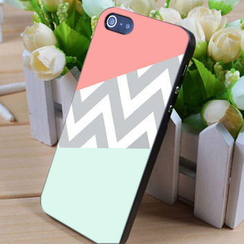 mint coral chevron vintage iphone 4/4s/5/5c/5s case, mint coral chevron samsung galaxy s3/s4/s5, mint coral chevron samsung galaxy s3 mini/s4 mini, mint coral chevron samsung galaxy note 2/3
